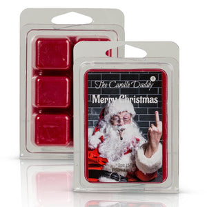 Merry Christmas- Santa Bird Middle Finger- The Dirtiest Santa- Christmas Splendor Scent - Maximum Scented Wax Melt Cubes - 2 Ounces - Dirty Santa