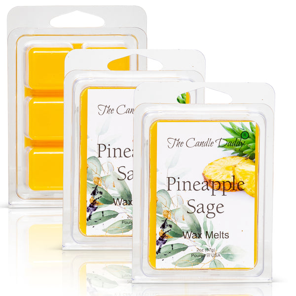Pineapple Sage - Tropical Herbal Scented Melt- Maximum Scent Wax Cubes/Melts- 1 Pack -2 Ounces- 6 Cubes