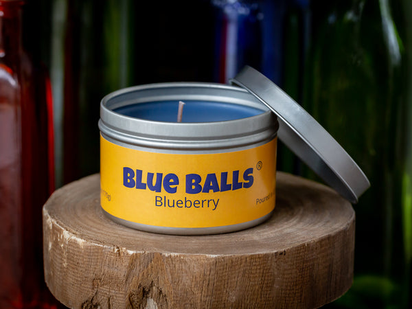 Blue Balls - Blue Berry Scented 6 oz travel tin candle - Poured in the USA