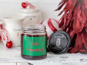 Oh Fuuudge Holiday Candle - Funny Chocolate Fudge Scented Candle - Funny Holiday Candle for Christmas, New Years - Long Burn Time, Holiday Fragrance, Hand Poured in USA - 6oz