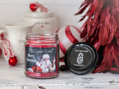 Merry Christmas (Santa Bird) Holiday Candle - Funny Christmas Day Scented Candle - Funny Holiday Candle for Christmas, New Years - Long Burn Time, Holiday Fragrance, Hand Poured in USA - 6oz