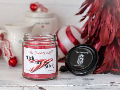 Lick My Stick Peppermint Holiday Candle - Funny Candy Cane Scented Candle - Funny Holiday Candle for Christmas, New Years - Long Burn Time, Holiday Fragrance, Hand Poured in USA - 6oz