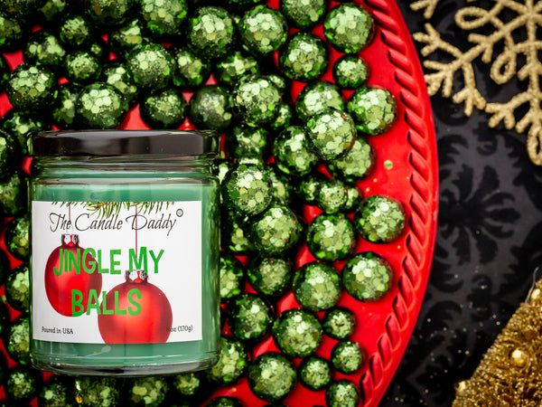 Jingle My Balls Holiday Candle - Funny Holly Berry Scented Candle - Funny Holiday Candle for Christmas, New Years - Long Burn Time, Holiday Fragrance, Hand Poured in USA - 6oz
