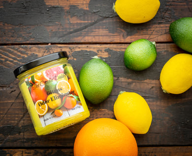 Citrus Odor Eliminator - Citrus Smoke / Odor Eliminating - Lightly Scented 6 Ounce Jar Candle - Hand Poured In Indiana