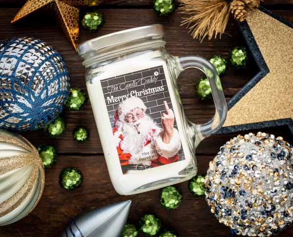 Merry Christmas - Santa Bird - Cool Winters Night Scented 10.5 Ounce Mason Jar Candle - Poured In The USA