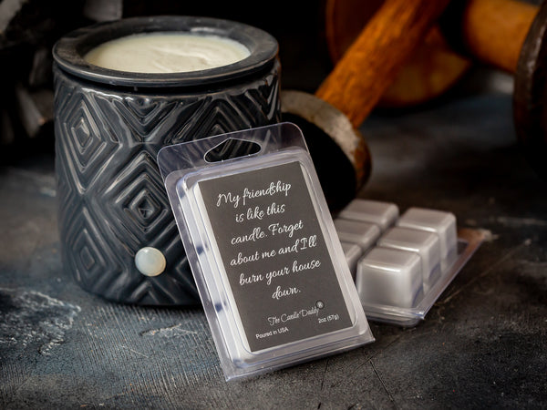 My  Friendship Is Like This Candle. Forget About Me and I'll Burn Your House Down Wax Melt - 2 oz 6 cubes -Spiced Honey and Tonka Scent
