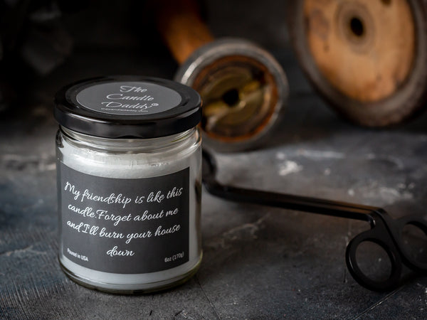 My friendship is like this candle.  Forget about me and I'll burn your house down- 6 oz- 40 hour burn time -Spiced Honey and Tonka Scent