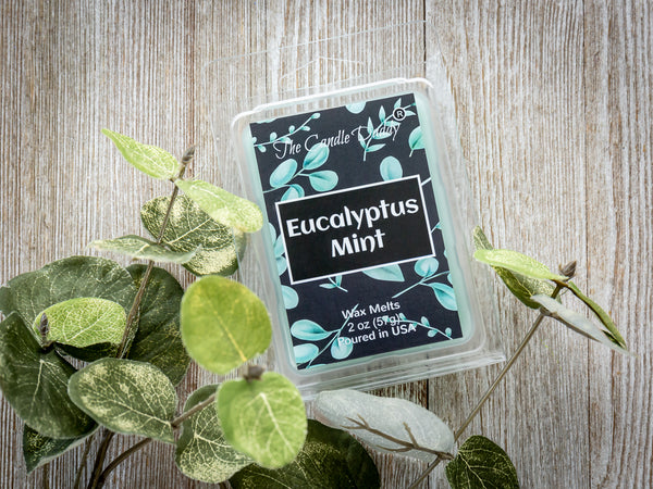 Eucalyptus Mint -  Refreshing Mint Eucalyptus Scented Melt- Maximum Scent Wax Cubes/Melts- 1 Pack -2 Ounces- 6 Cubes