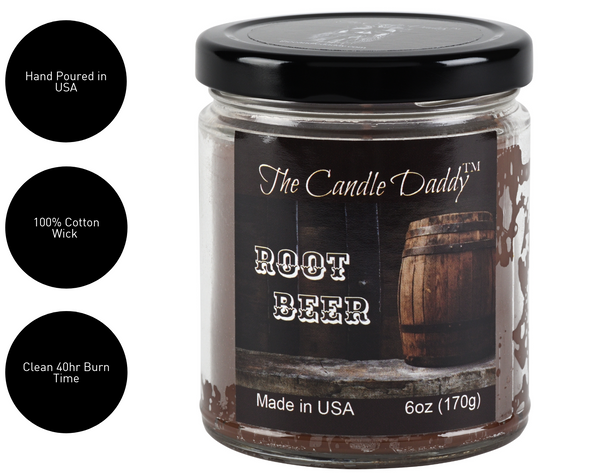 Root Beer - Classic Rood Beer Soda 6oz Jar Candle - The Candle Daddy - Hand Poured In Indiana