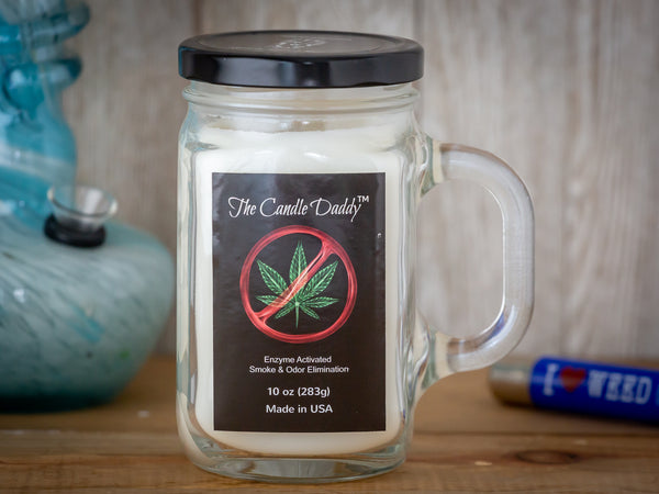 Weed Be Gone - Smoke and Odor Eliminator - Enzyme Activated- 10 Ounce Glass Jar Candle - White Wax