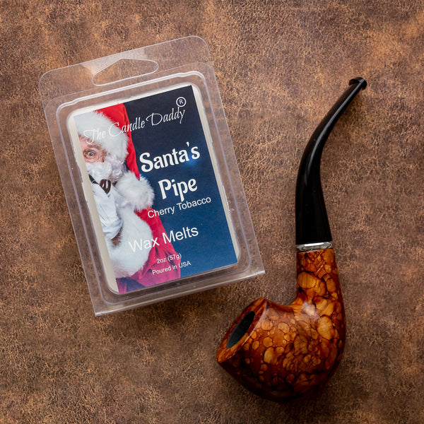 Santas Pipe - Funny - Cherry Tobacco Scented Maximum Scented Wax Melt Cubes - 2 Ounce