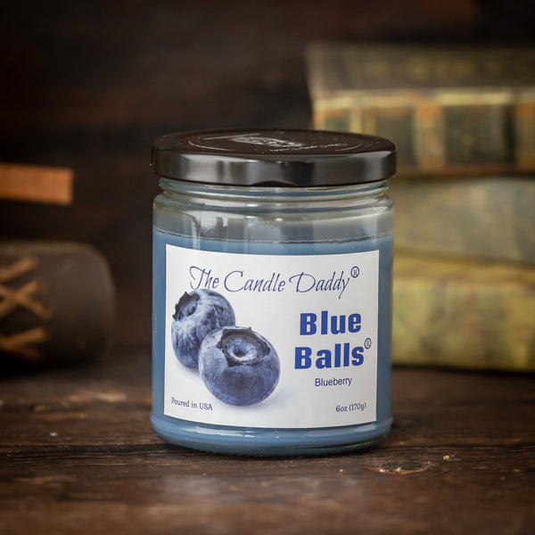 Two Blue Balls  - Blueberry Scented - 6 Ounce Jar Candle - 40 Hour Burn