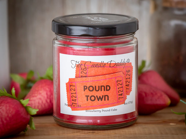 Two Tickets To Pound Town - Strawberry Pound Cake Scented - Funny 6 oz Jar Candle- 40 hour burn time