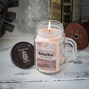 Morning Wood- Light Wood Scent- Cedarwood Vanilla Scented Mason Jar with Handle  Candle- 10 Ounce- 80 Hour Burn- Made in USA