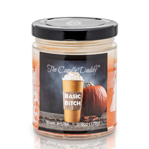 Basic Bitch - Funny Pumpkin Spice Latte Jar Candle  6 Ounce - 40 Hour Burn - Hand poured in Indiana