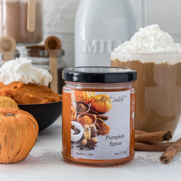 Pumpkin Spice Jar Scented Candle -6 Ounce - The Candle Daddy- Hand Poured in Indiana