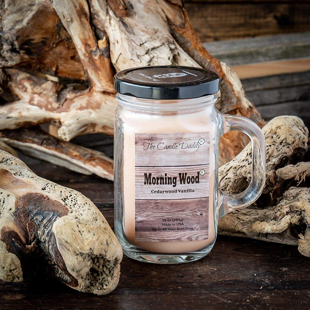 Morning Wood- Cedarwood Vanilla Scented Mason Jar with Handle  Candle- 10 Ounce- 80 Hour Burn- Made in USA