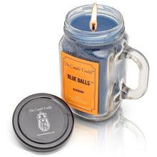 Blue Balls Candle- Blueberry Scented Candle- Mason Jar with Handle- 10 Ounce- 80 Hour Burn- Made in USA