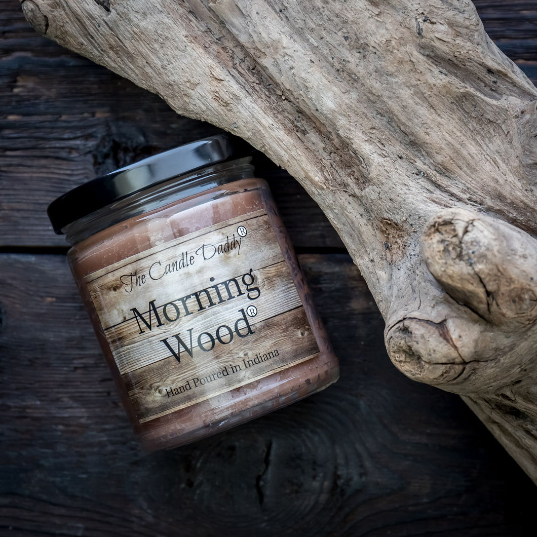 Morning Wood Candle - Cedarwood Vanilla Scent 6 Ounce - 40 Hour Burn