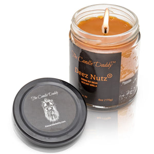 Deez Nutz- Black Label- Banana Nut Bread- Hazelnut Vanilla- The Candle Daddy- Hand poured in Indiana