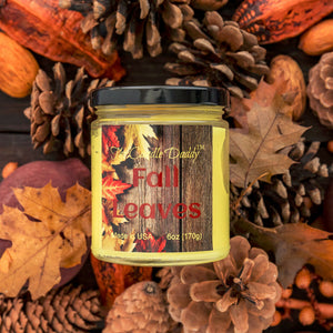 Fall Leaves Jar Candle- Hand poured in Indiana