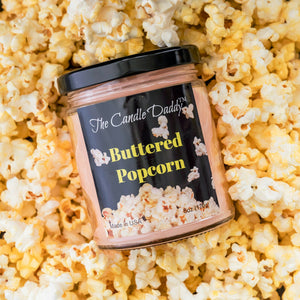 Buttered Popcorn Pop Corn Butter 6 oz jar The Candle Daddy 40 plus hour burn