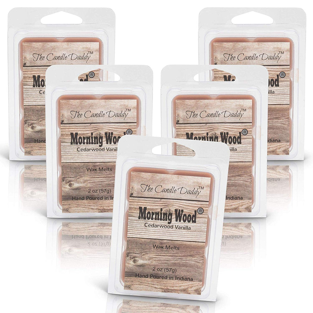 5 pack -Morning Wood - Heavy Wood Scent- Cedarwood Vanilla Scented Wax Tart Melts 5 (five) 2 oz Packs