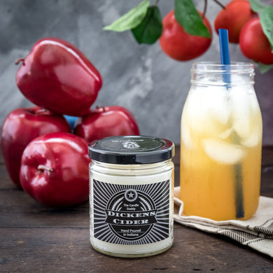 Dickens Cider- Apple Bourbon Cider Scented Jar Candle- 6 Ounce- 40 Hour Burn- Hand Poured in Indiana