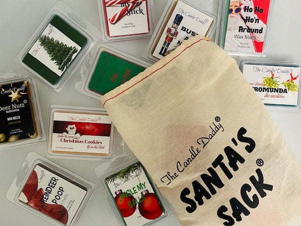 Santa's Sack - 11 Packs Of Random Christmas Wax Melts in the Sack - Randomly Selected - Great Dirty Santa Gift