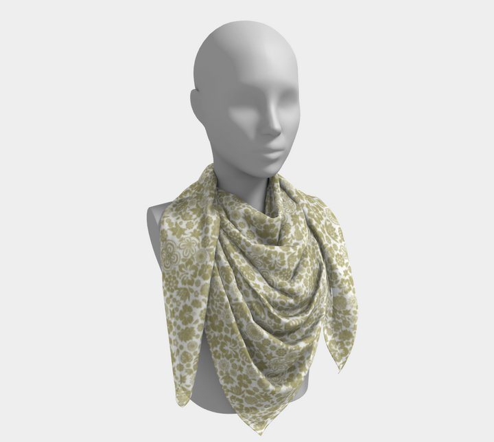 Multiple Flowers On White Scarf