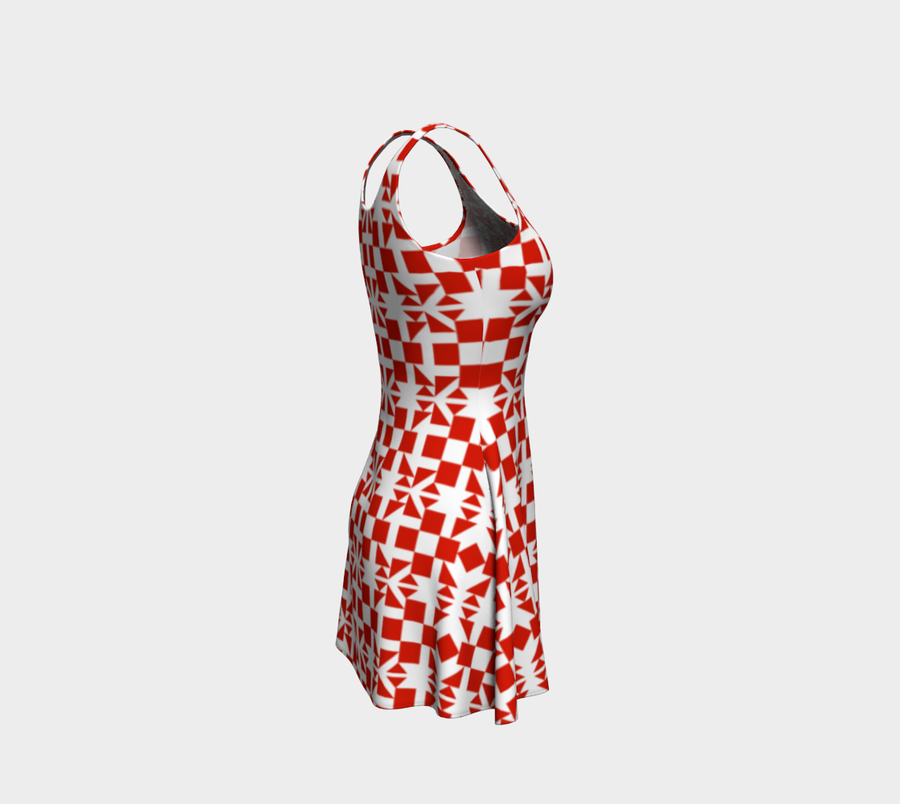 Red Pattern Flare Dress