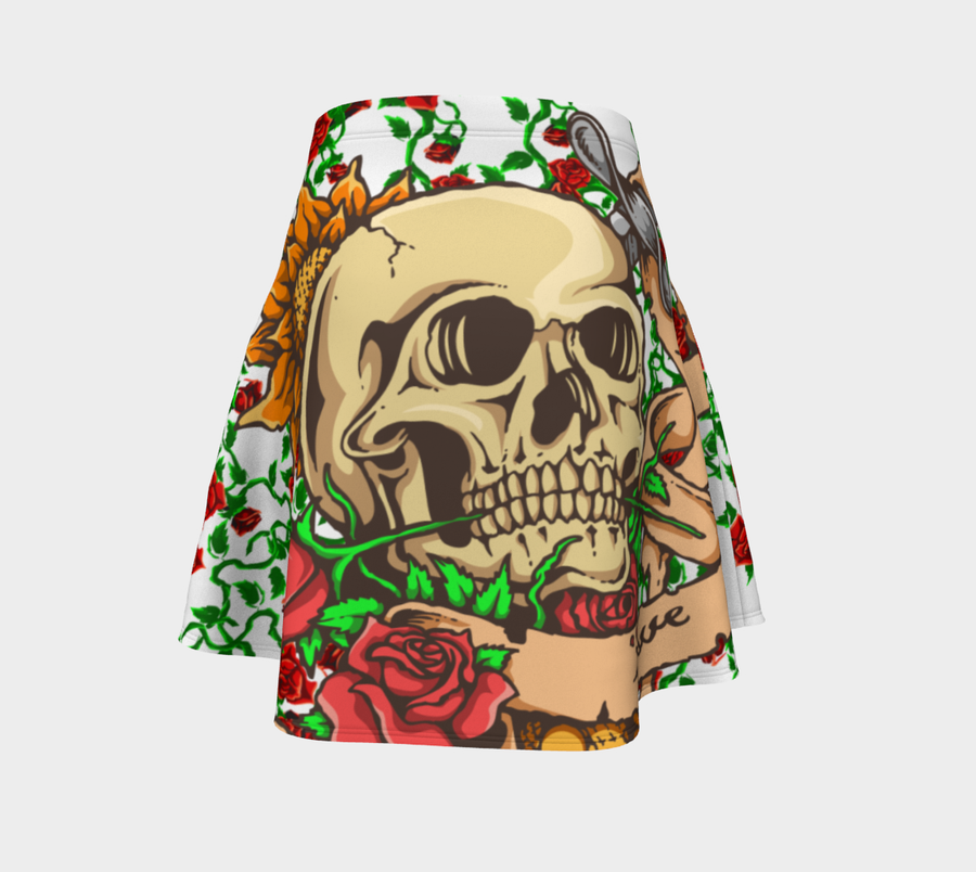 Scull Tattoo On Roses Flare Skirt