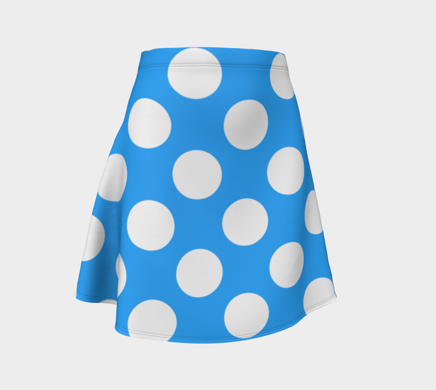 Blue Flare Dress with White Polka Dots - Spgetti