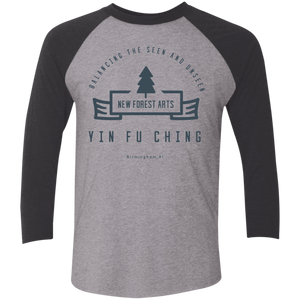 Premium Heather/Vintage Black Vintage Yin Fu Ching Tri-Blend 3/4 Sleeve Baseball Raglan T-Shirt