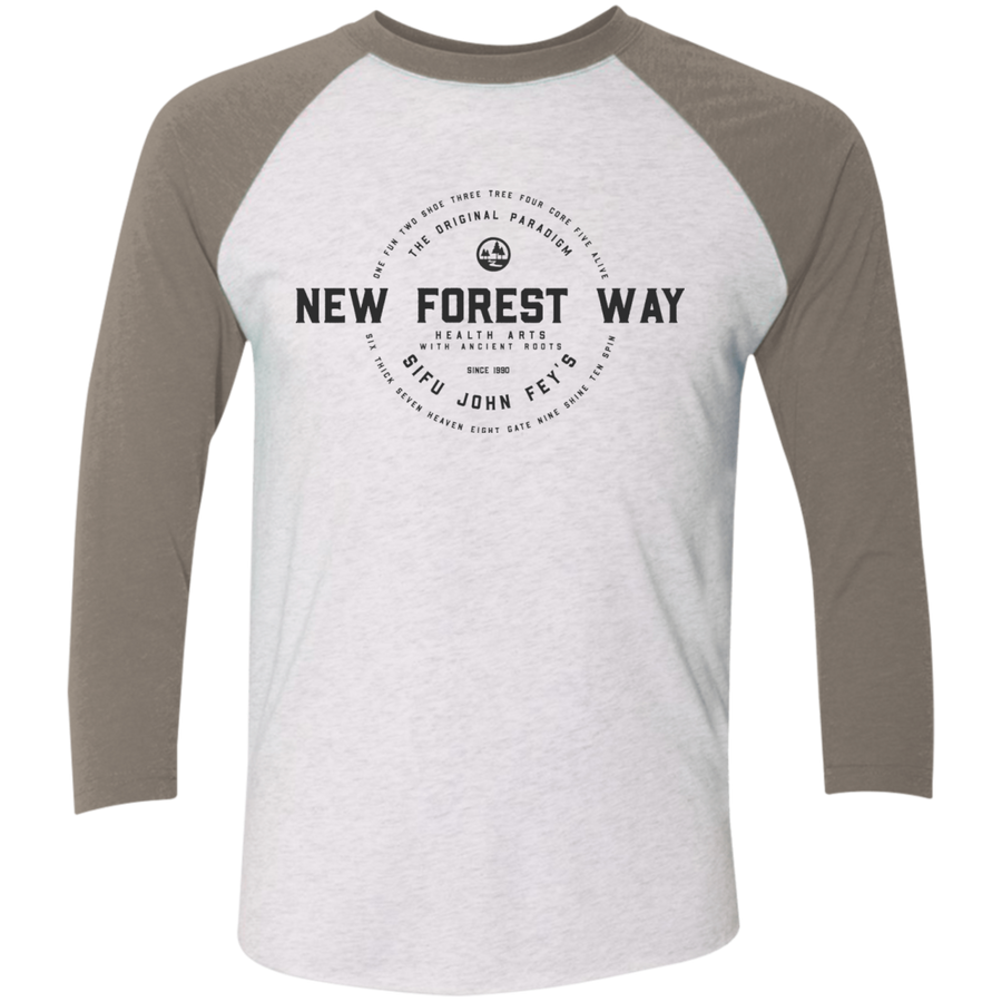 Heather White/Vintage Grey Vintage New Forest Way Tri-Blend 3/4 Sleeve Baseball Raglan T-Shirt