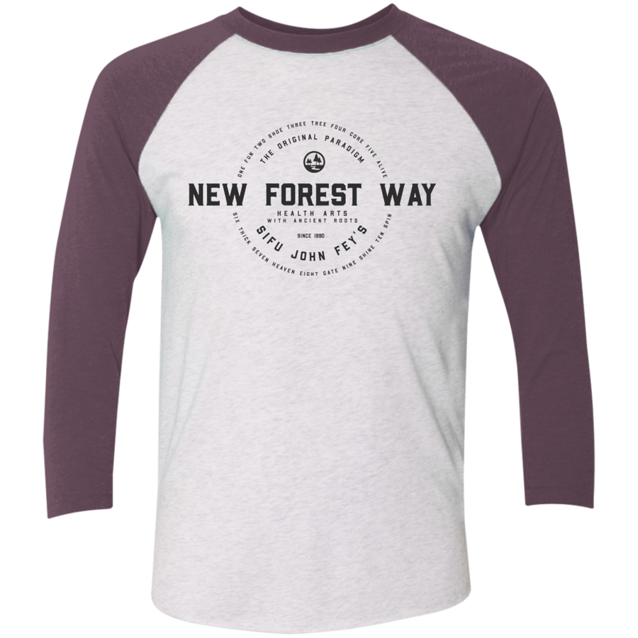 Heather White/Vintage Purple Vintage New Forest Way Tri-Blend 3/4 Sleeve Baseball Raglan T-Shirt