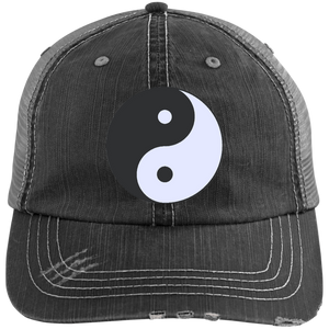 Black/Grey Yin Yang Distressed Cap