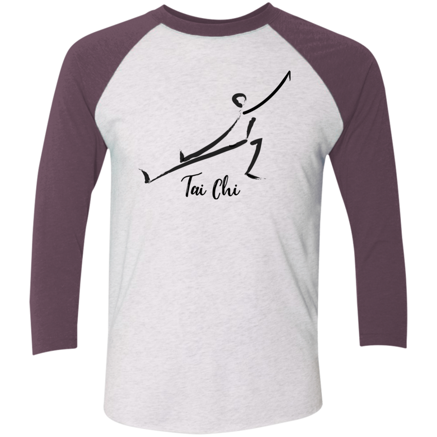 Heather White/Vintage Purple Tai Chi Tri-Blend 3/4 Sleeve Baseball Raglan T-Shirt