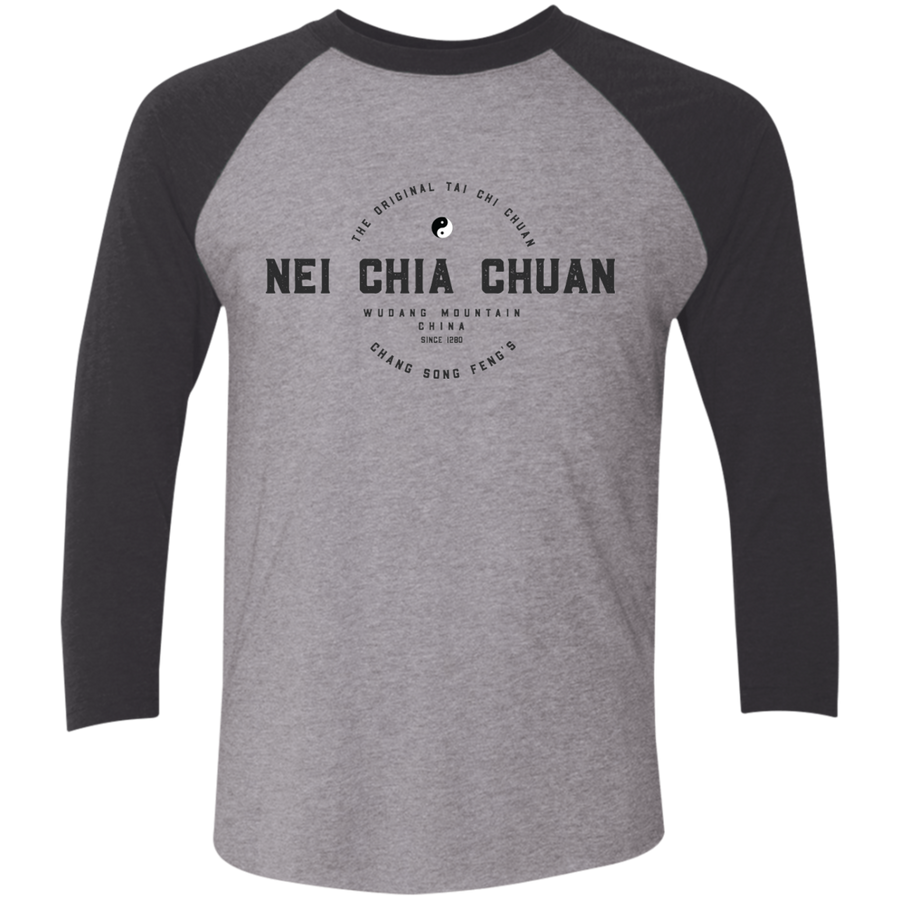 Premium Heather/Vintage Black Vintage Nei Chia Tri-Blend 3/4 Sleeve Baseball Raglan T-Shirt