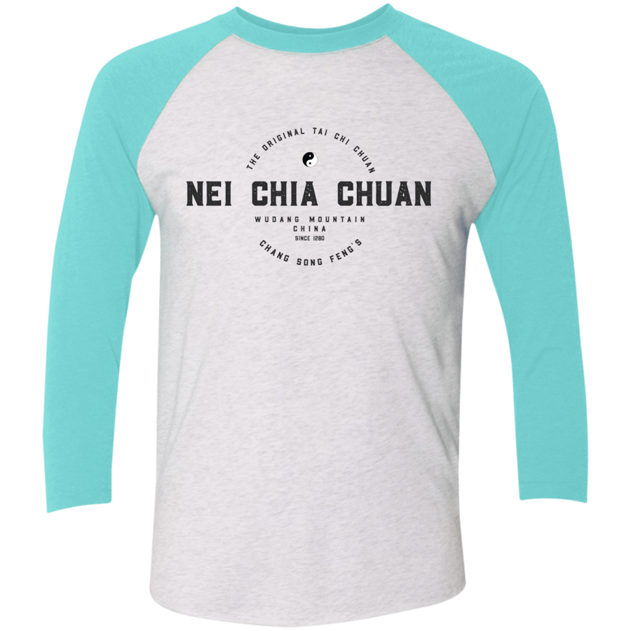 Heather White/Tahiti Blue Vintage Nei Chia Tri-Blend 3/4 Sleeve Baseball Raglan T-Shirt