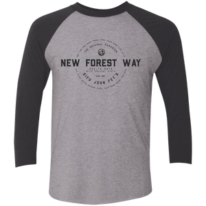 Premium Heather/Vintage Black Vintage New Forest Way Tri-Blend 3/4 Sleeve Baseball Raglan T-Shirt