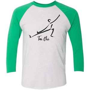 Heather White/Envy Tai Chi Tri-Blend 3/4 Sleeve Baseball Raglan T-Shirt