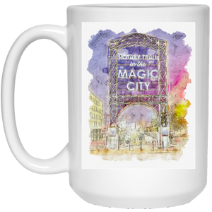 Magic City Watercolor 15 oz. White Mug