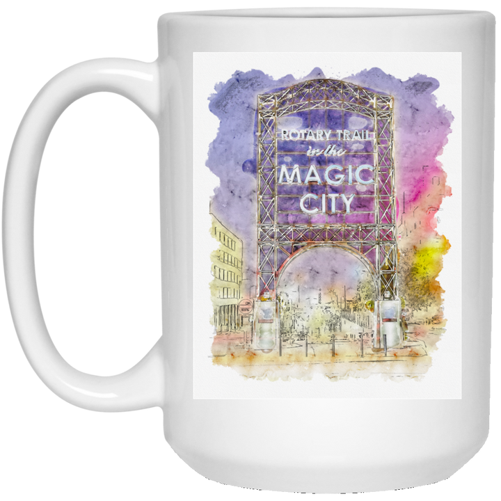 Magic City Watercolor 15 oz. White Mug - Spgetti