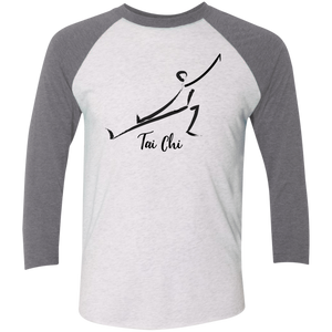 Heather White/Premium Heather Tai Chi Tri-Blend 3/4 Sleeve Baseball Raglan T-Shirt