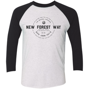 Heather White/Vintage Black Vintage New Forest Way Tri-Blend 3/4 Sleeve Baseball Raglan T-Shirt