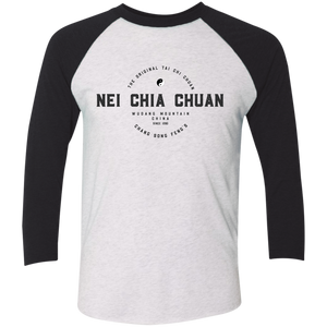 Heather White/Vintage Black Vintage Nei Chia Tri-Blend 3/4 Sleeve Baseball Raglan T-Shirt