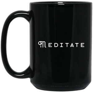 Meditate 15 oz. Black Mug - Spgetti