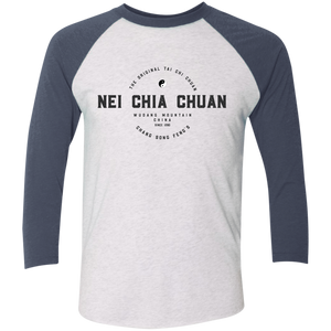 Heather White/Indigo Vintage Nei Chia Tri-Blend 3/4 Sleeve Baseball Raglan T-Shirt