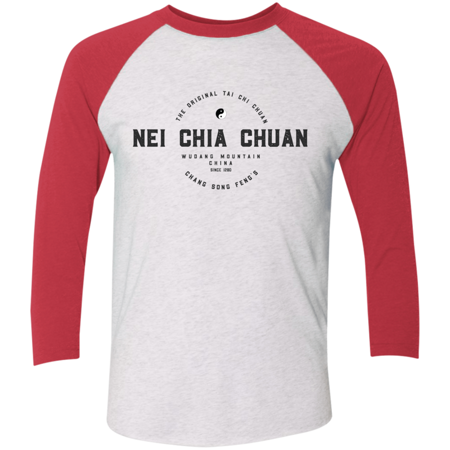 Heather White/Vintage Red Vintage Nei Chia Tri-Blend 3/4 Sleeve Baseball Raglan T-Shirt
